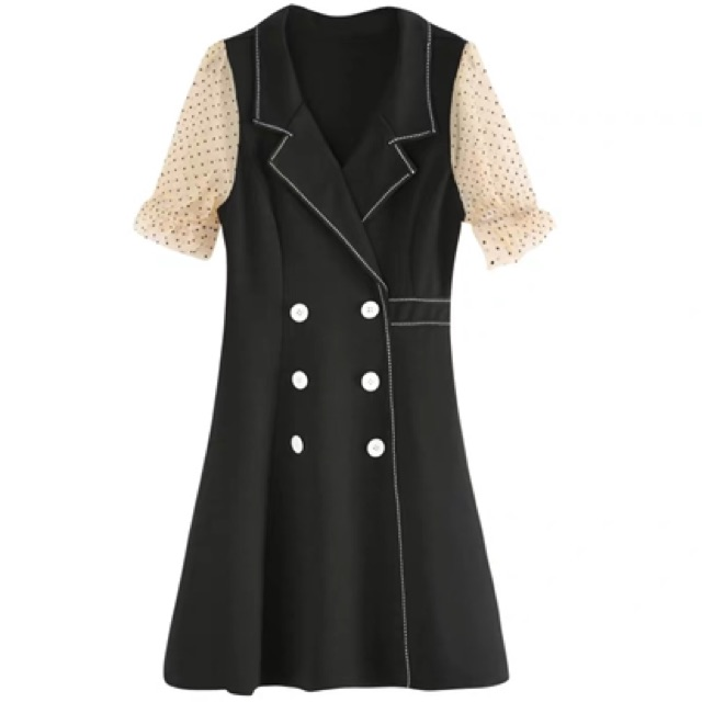 【S~2XL】Polka dot french black dress 新款夏天裙子小个子时尚气质女神范波点法式连衣裙小黑裙