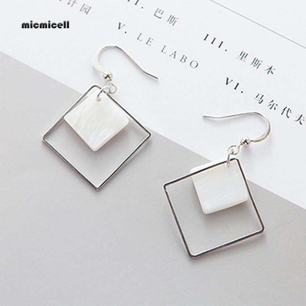 80a0f2b418 MIC_Fashion Alloy Square White Shell Dangle Hook Earrings Women Charming  Jewelry