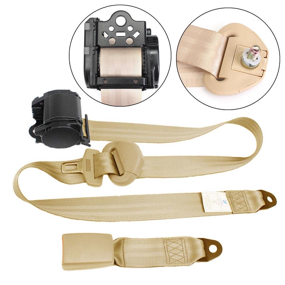 Automotive 2 Kits Universal Strap Retractable & Adjustable Safety Seat Belt Beige 3 Point Seat Belts & Parts