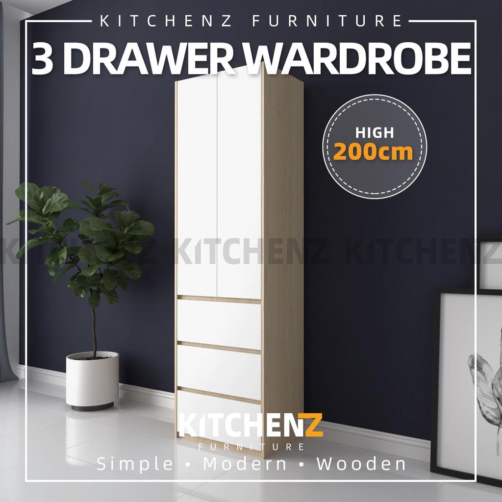 KitchenZ 200cm High 2 Door Wardrobe With 3 Drawer Solid Board / Almari Baju / Almari Pakaian - HMZ-FN-WD-6007