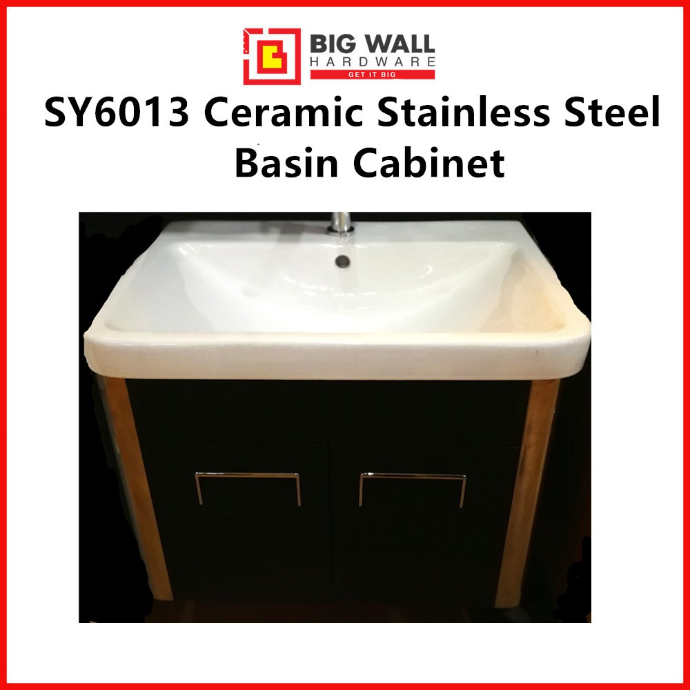 SY6013 Ceramic Stainless Steel Basin Cabinet (600mm x 180mm x 460mm)