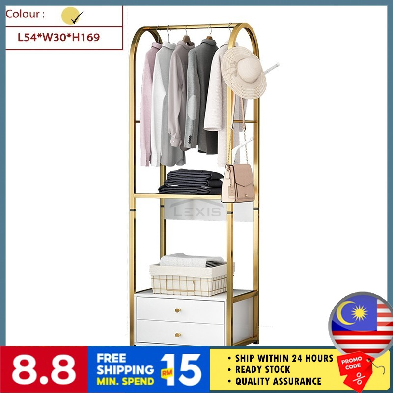 Lexis Luxury Clothes Hanger Bedroom Clothing Storage Shelf Coat Rack With Drawers Modern Style L54cm X W30cm X H169cm Shopee Malaysia