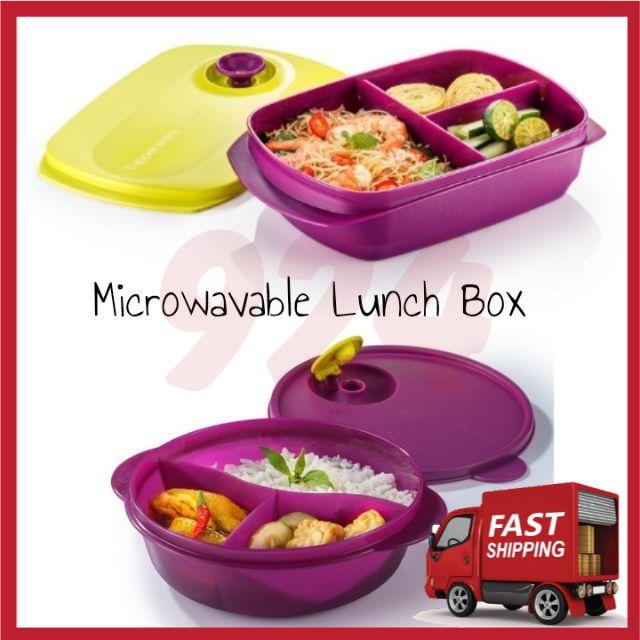 [Ready Stok] Tupperware Reheatable Divided Lunch Box 1L CrystalWave Divided Dish 900ml Microwave Purple Kid Set