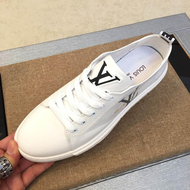LV2019 new men's shoes, leather skate shoes, unisex calfskin casual shoes