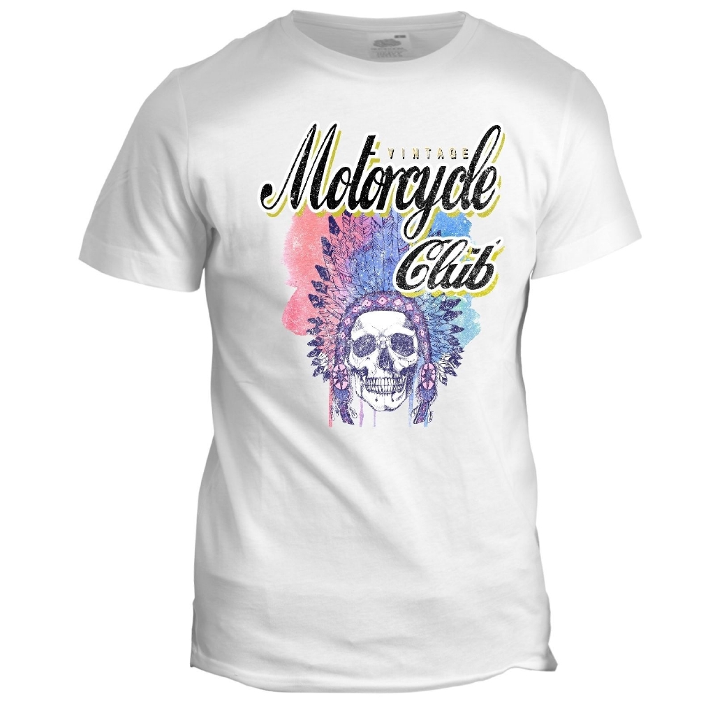 Indian Motorcycle Club Mens Biker Skull Motorbike Tattoo Tumblr Cotton T Shirt Shopee Malaysia