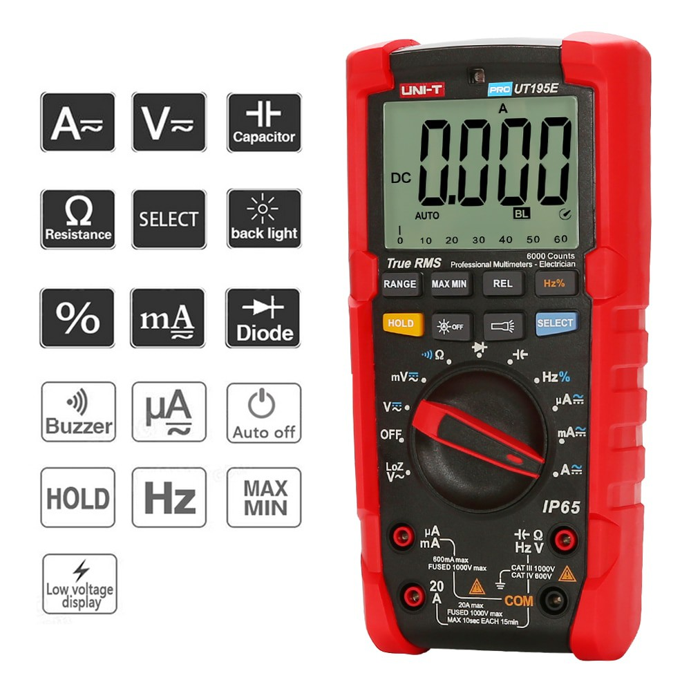 UNI-T UT195E UT195M/UT195DS True RMS Professional Multimeters IP65 ...