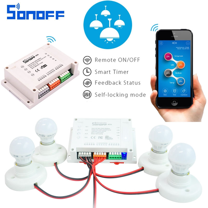 4ch Channel Remote Control Smart WiFI Switch On/off Wireless Timer Diy  Switch