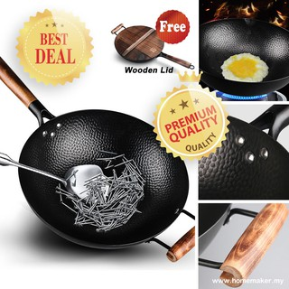 Professional quality Wood handle Round bottom /Ø 30 cm Traditional Carbon Steel Wok