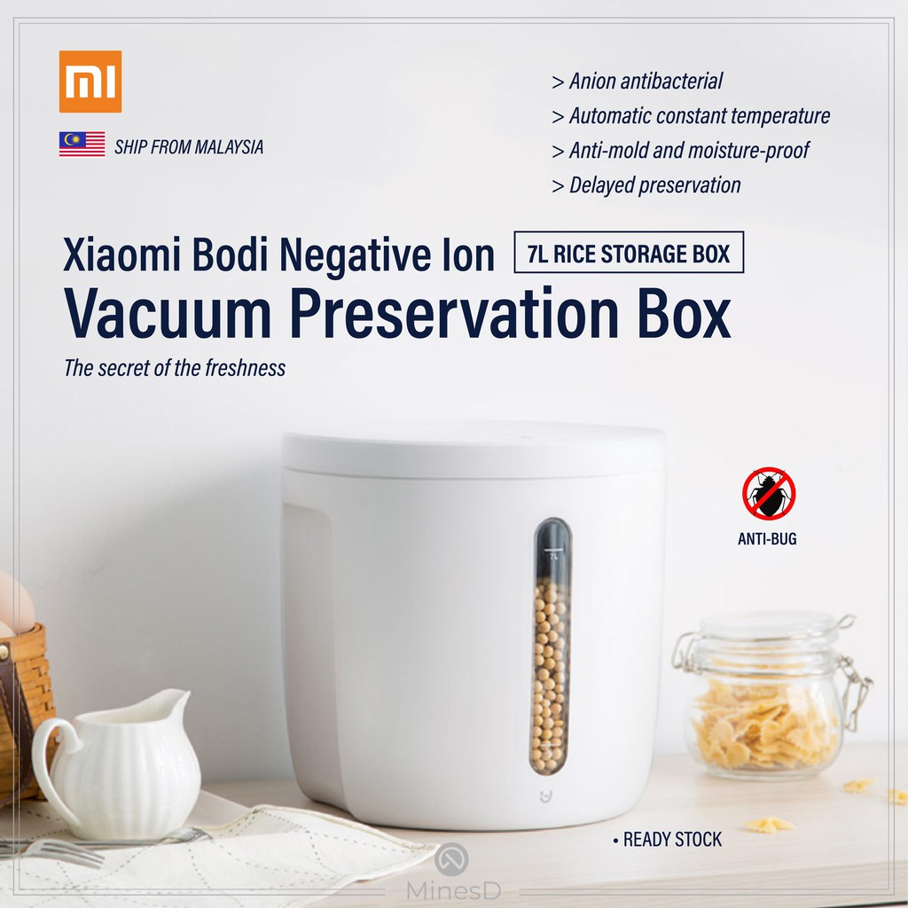 [Ready Stock]Xiaomi Bodi Smart Rice Storage box 7L/12L Negative Ion Vacuum Preservations Food Storage Box