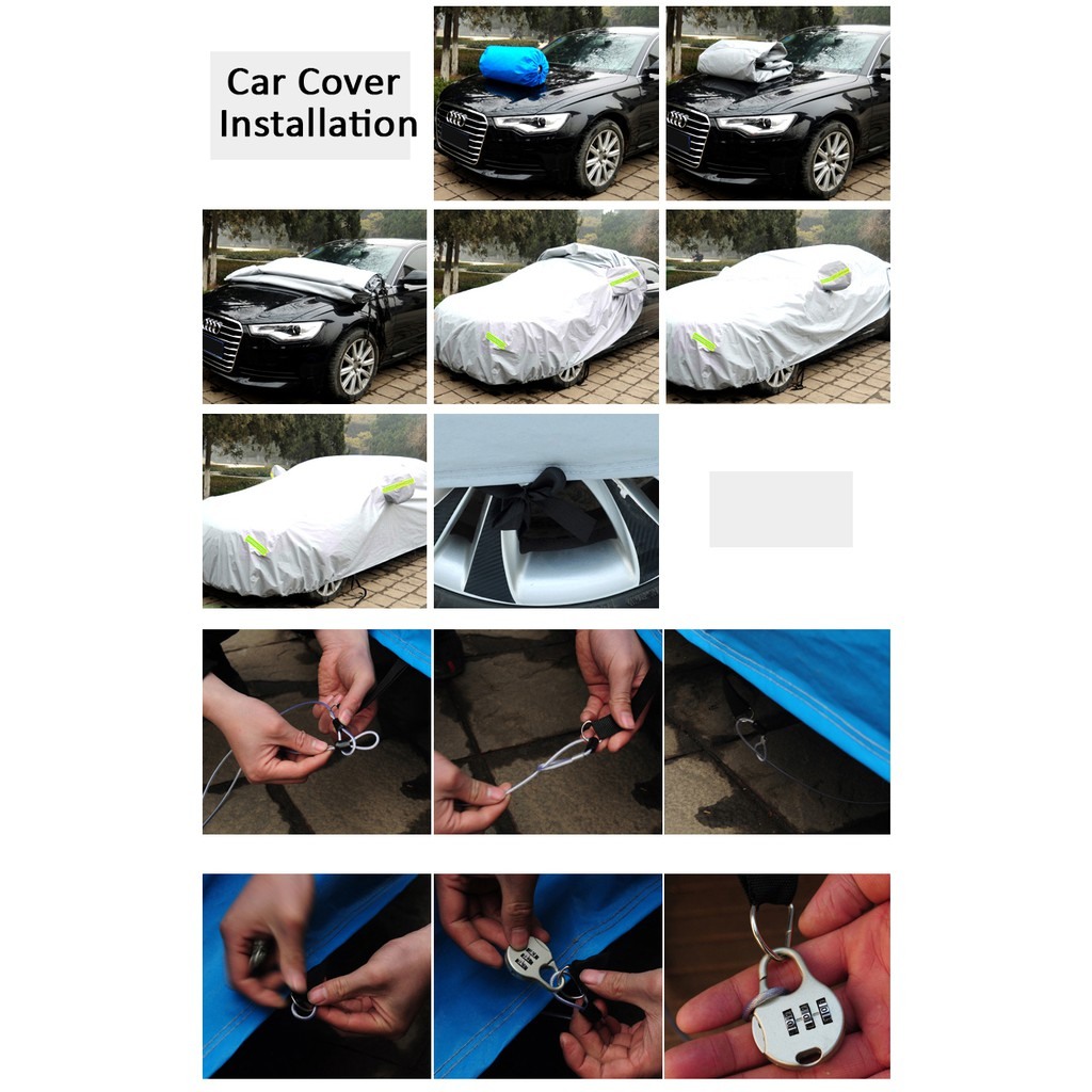 Car Cover Rain Dust Sunlight Resistant Protection For Proton Saga/Wira/Waja Toyota Vios (Size 3M) (CCL)