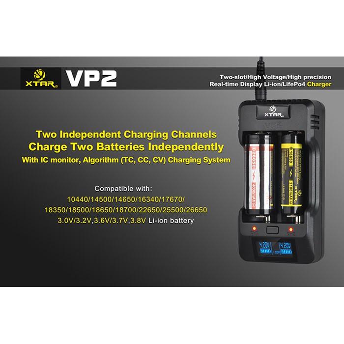 100% Original XTAR VP2 LCD Display Dual Slot Charger