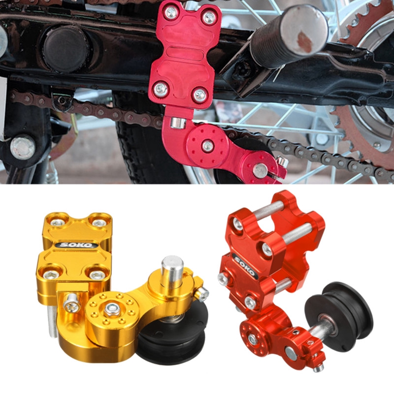 New Aluminum Adjuster Chain Tensioner Bolt On Roller Motorcycle Chopper ATV RED