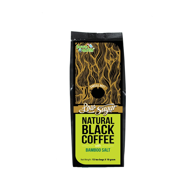 Natural Low Sugar Black Coffee with Bamboo Salt 10gx15