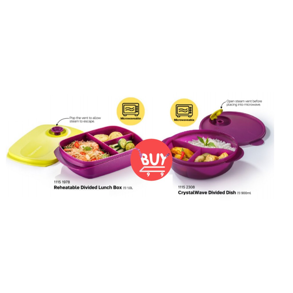 Tupperware Reheatable Divided Lunch Box (1) 1L / Crystalwave Divided Dish (1) 900ml