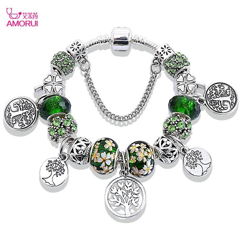 ad7b531048b66 Girls Women Emerald Green Life Tree Glass Beads Charm Bracelet