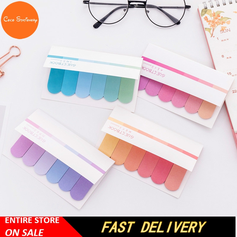 100 Pages Gradual Sticky Notes Stationary Bookmark Memo Notes Tab Strip Sticker