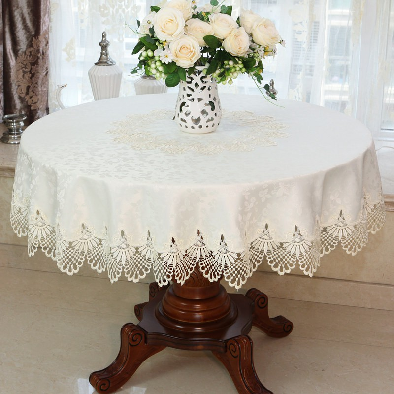 Pure White European Large Round Tablecloth Square Round Dining Table Cloth Chair Cover Fabric Anti Scalding Simple Fresh Shopee Malaysia