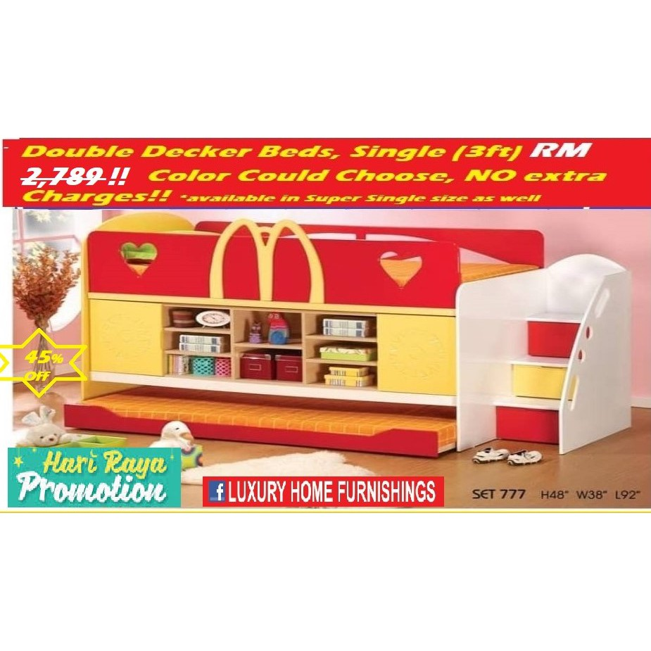 Double  Decker Beds, Four different modes same PRICE,  CHILDREN SET COLLECTIONS!! RM 2,789!! HARI RAYA OFFER 45% Off!!