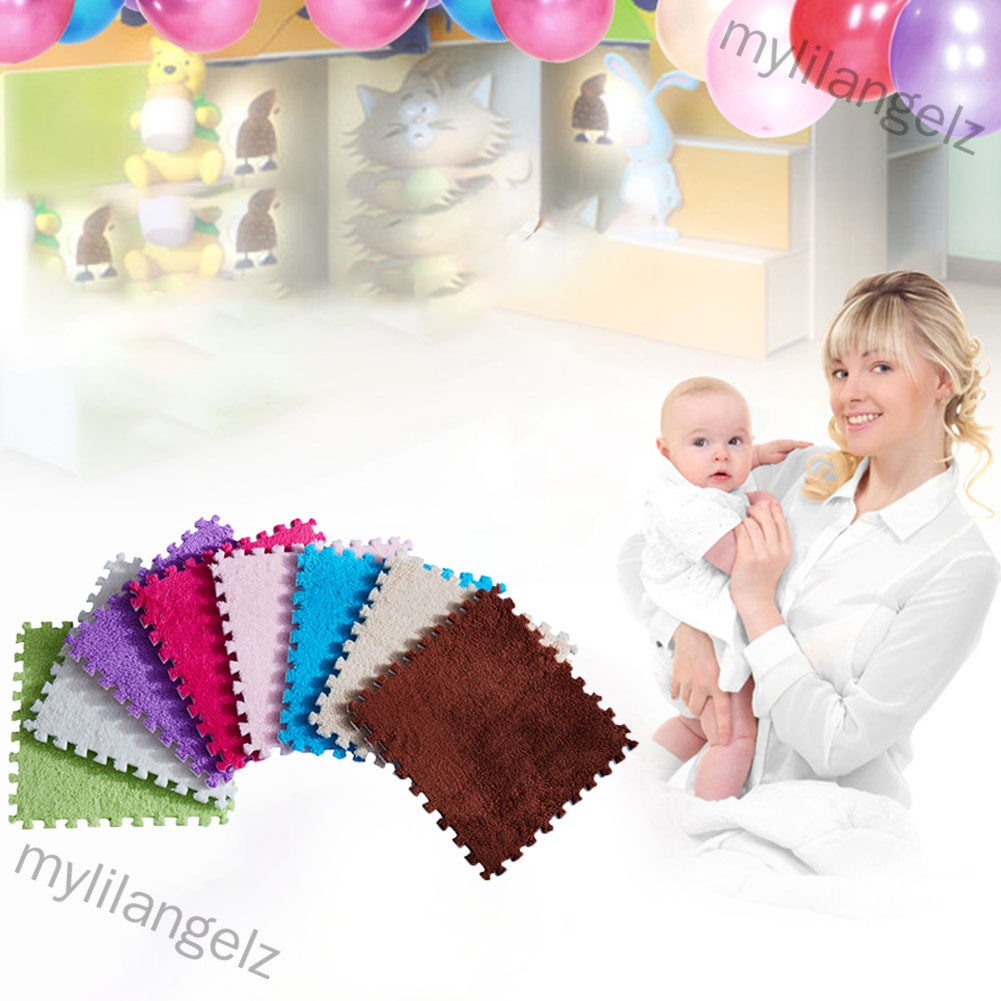 Mylilangelz Thicken Bedroom Mat Kids Carpet Foam Puzzle Mat Shaggy Velvet Floor Mat for Kids