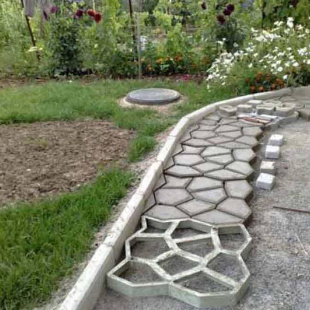 1pc Diy Garden Walk Mould Make Driveway Paving Brick Patio Concrete Slabs Path