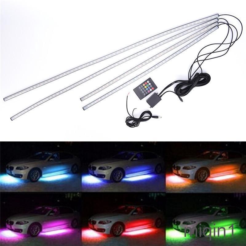 4x RGB LED Light Strip Lower Car Body Frame Neon Light Kit 90+60cm App Control