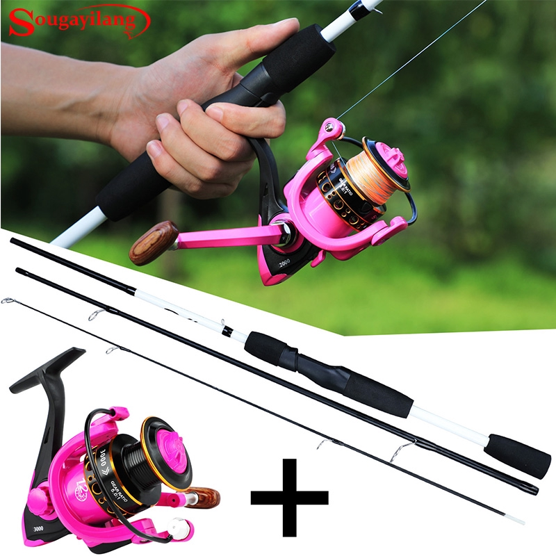 Sougayilang Fishing Rod Spinning Baitcasting UL Rod with Spinning Reel Fishing 3-sections Travel Design