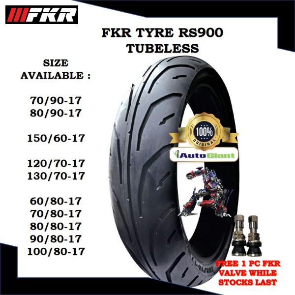 FKR TAYAR RS900 TUBELESS 60/80-17, 70/90-17, 80/80-17, 80/90-17, 90/80-17,100/80-17, 120/70-17, 130/70-17, 150/60-17