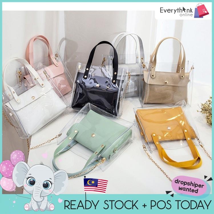 EVON PREMIUM SB026 FASHION TRANSPARENT PVC SLING BAG FOR WOMEN MINI SHOULDER BAG FEMALE SMALL LEATHER HANDBAGS CROSSBODY