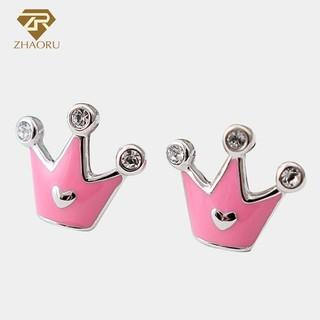 925 Sterling Silver Crown Shape Stud Earrings For Women Fashion Genuine Jewelry
