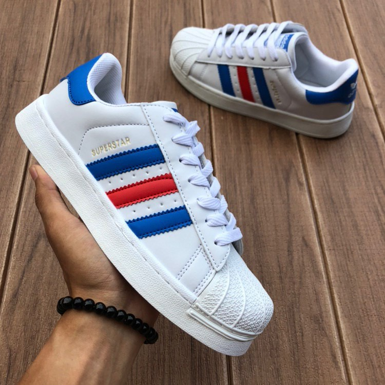 adidas superstar blue and red stripe