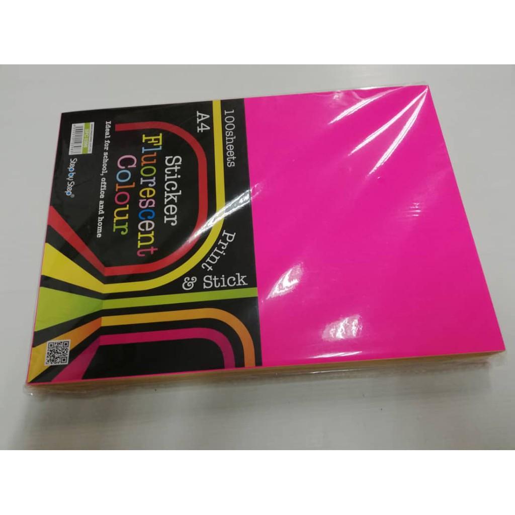 A4 Simili Sticker Fluorescent Colour 100 sheets