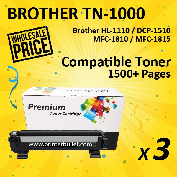 3 unit Brother TN1000 / TN-1000 High Quality Compatible Toner Cartridge