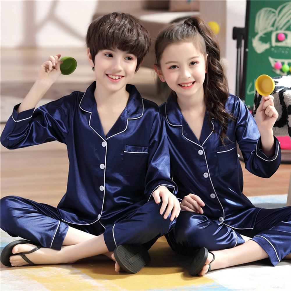 New Kids Boys Girls Pyjamas Sleepwear Silk Satin Pajamas Sets Nightwear Homewear