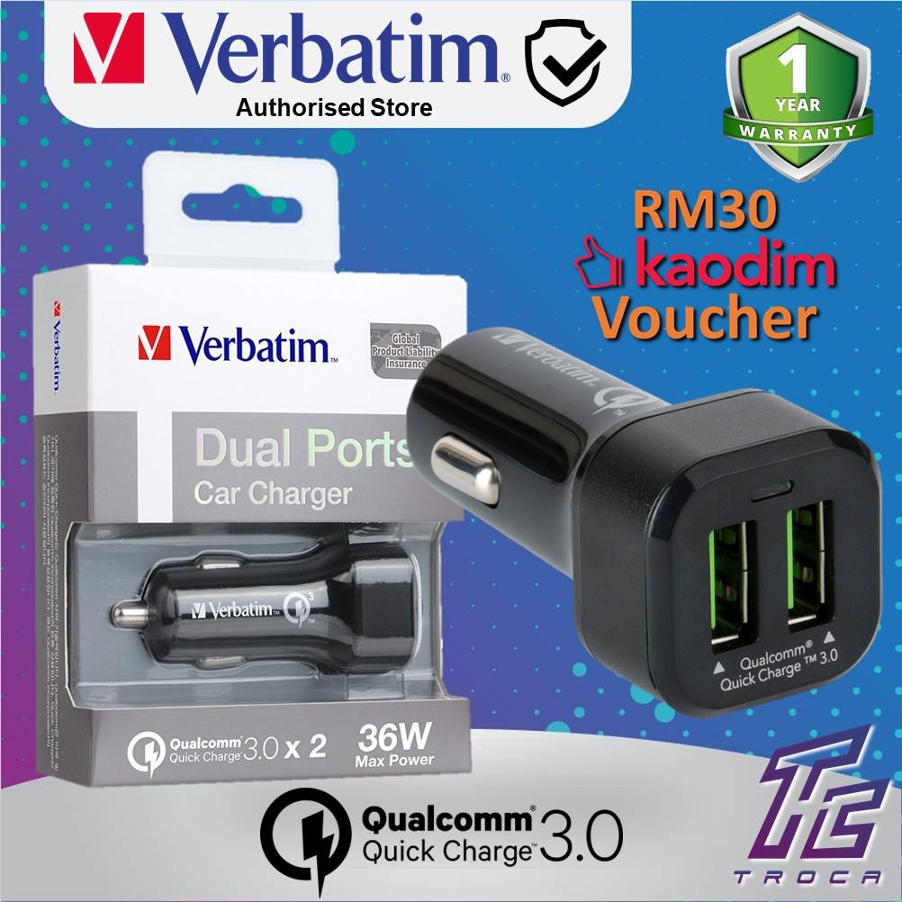 Verbatim Quick Charge 3 0 Car Charger Dual USB Ports Fast Car Adapter  (Black) (VB-65797)