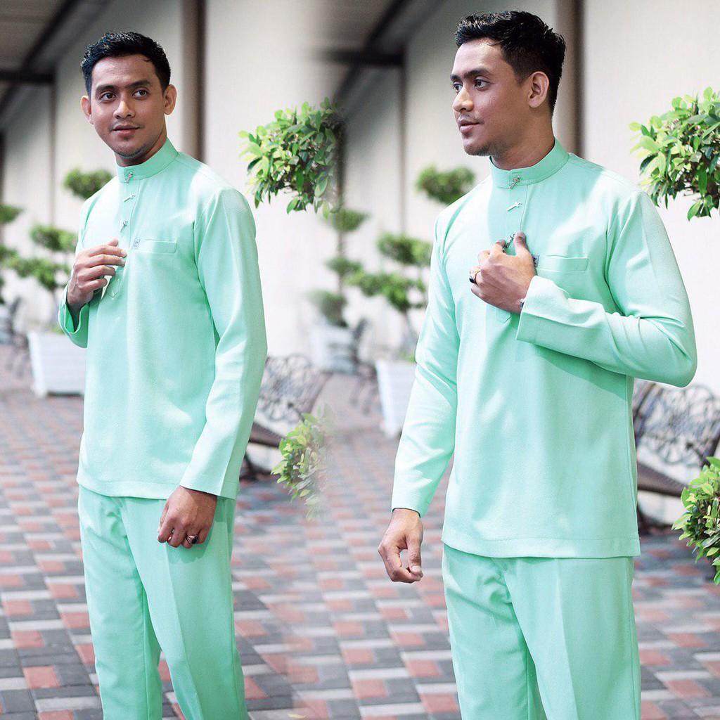 Baju Melayu Slim Fit Cekak Musang Mint Baju Nikah /Baju Raya Green Como  Crepe