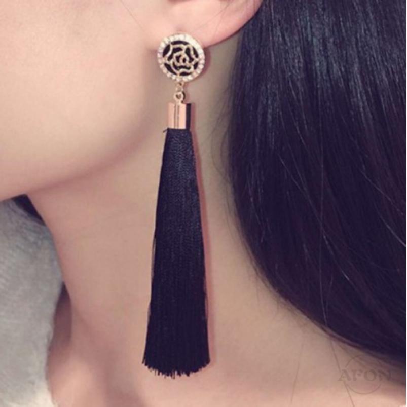 12f05ff786aff Women Fashion Earrings Bohemian Boho Hook Drop Dangle Long Tassel Fringe  Earring