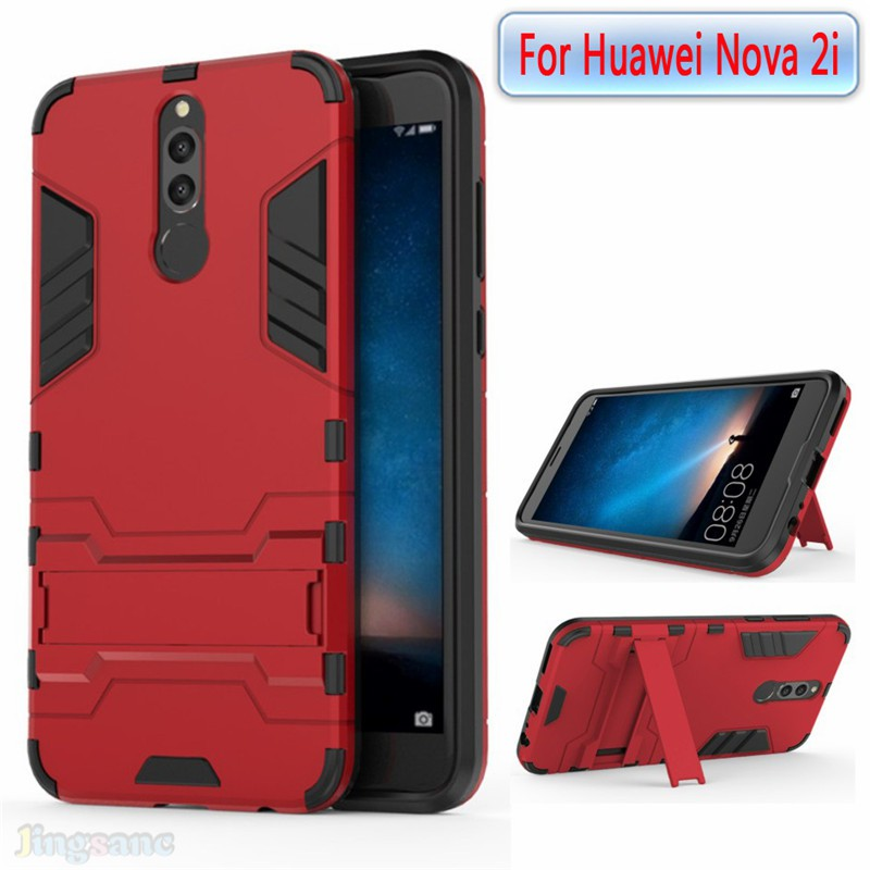 new concept add90 bc818 For Huawei Nova 2i nova2i Case soft TPU+hard Phone Cover stand Tempered  Glass