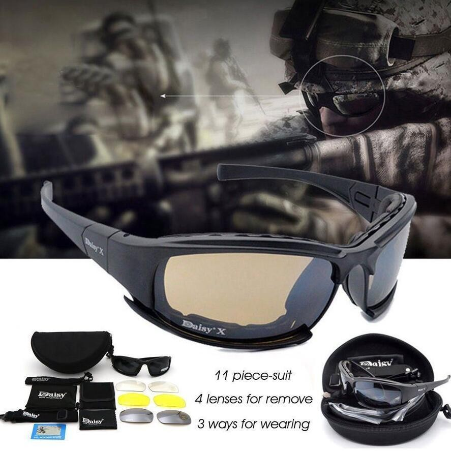 e92501cef4e Polarized Daisy X7 Motorcycle Riding Sunglasses Military Tactical Goggles 4  Lens