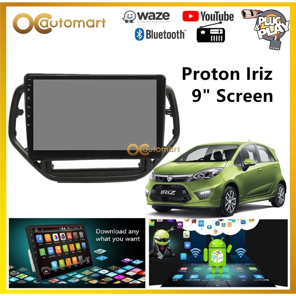 """Proton Iriz Big Screen 9"""" Plug and Play OEM Android Player Car Stereo With WIFI Video Player/TouchScreen"""