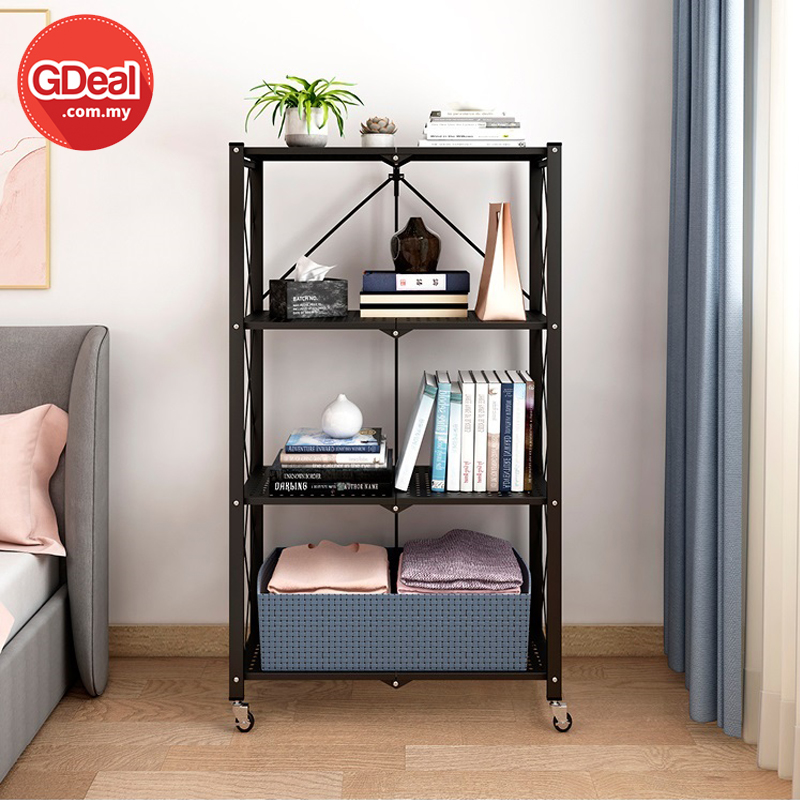 GDeal 4 Tier Foldable Storage Rack With Wheel For Living Room Bedroom Kitchen