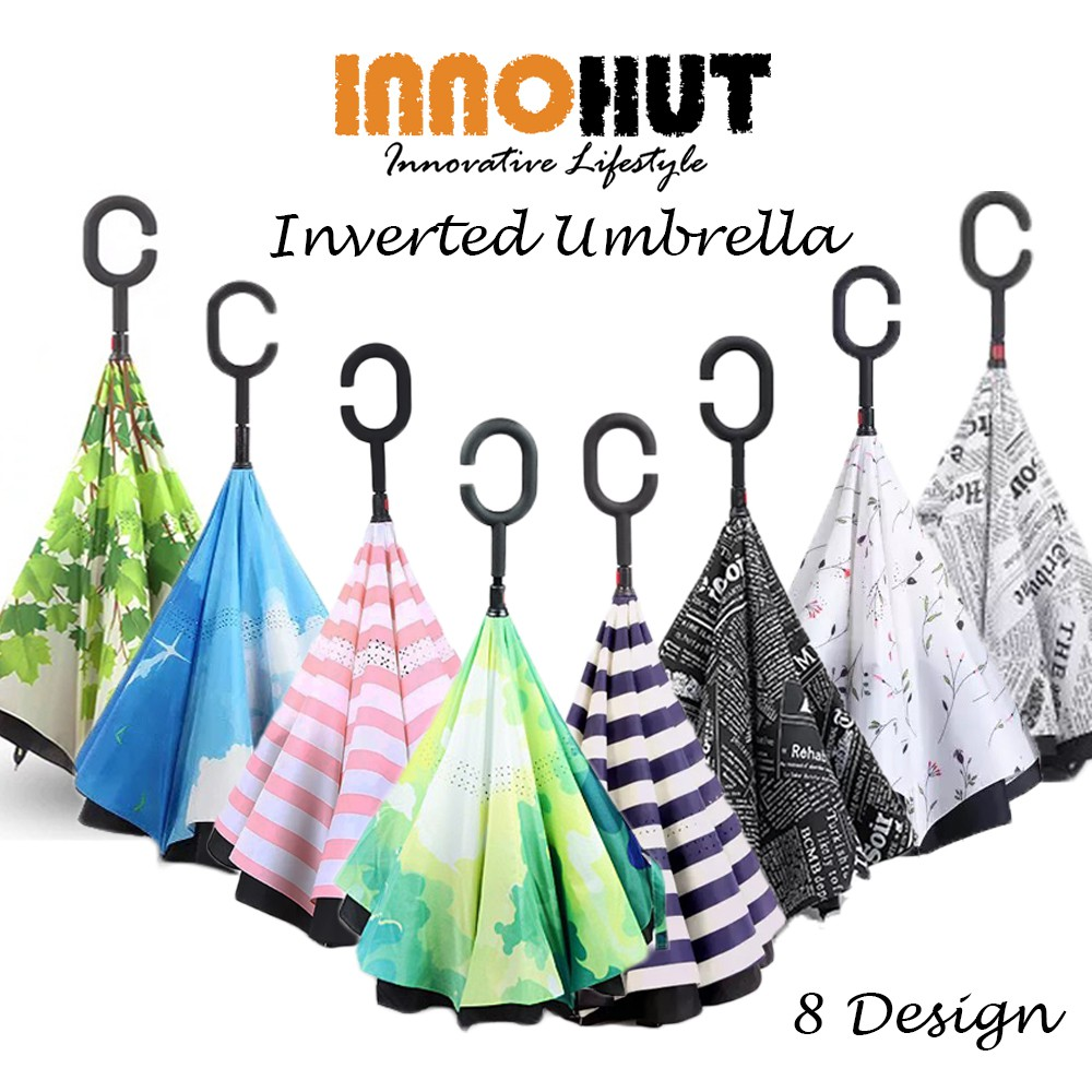 746861e30722 High Quality Double Layer Inverted Reverse Umbrella with C Handle