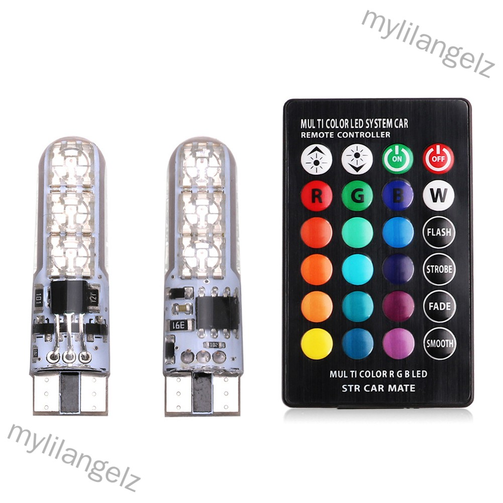 Mylilangelz Car RGB LED 12V T10 LED RGB 5050 SMD Signal Lamp Reading Wedge Light Car Interior Decorative Lights