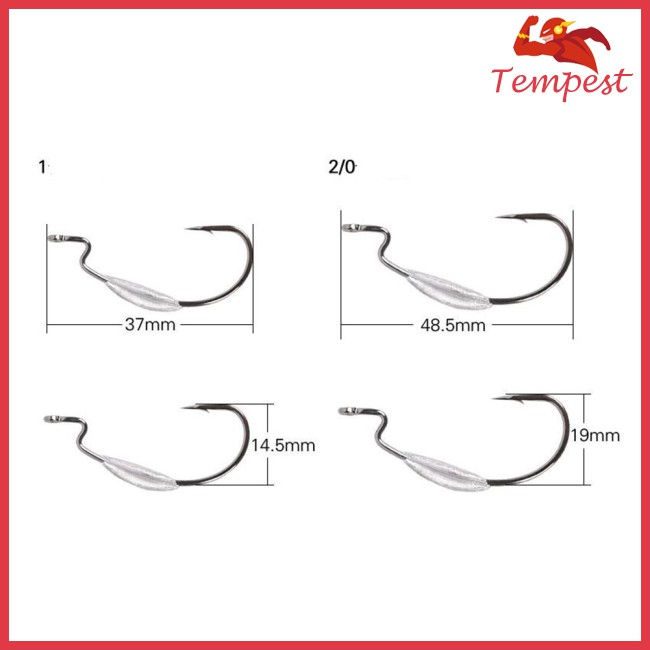 weighted worm hook red 4//0 carbon steel bass fishing soft swimming bait 25pcs 2g