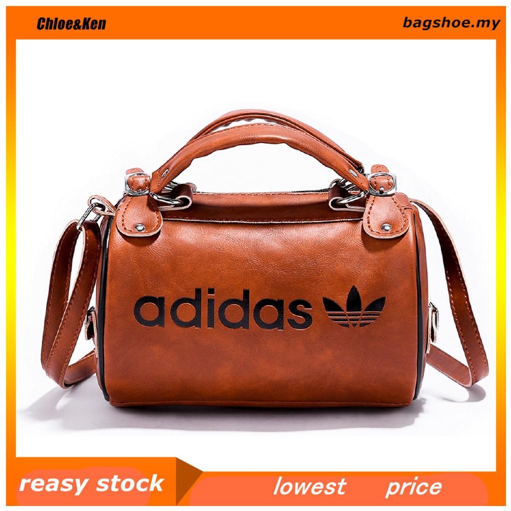 ✅C&K Ready Stock Adidas Retro Round Cylinder Sling Bag PU Handbag
