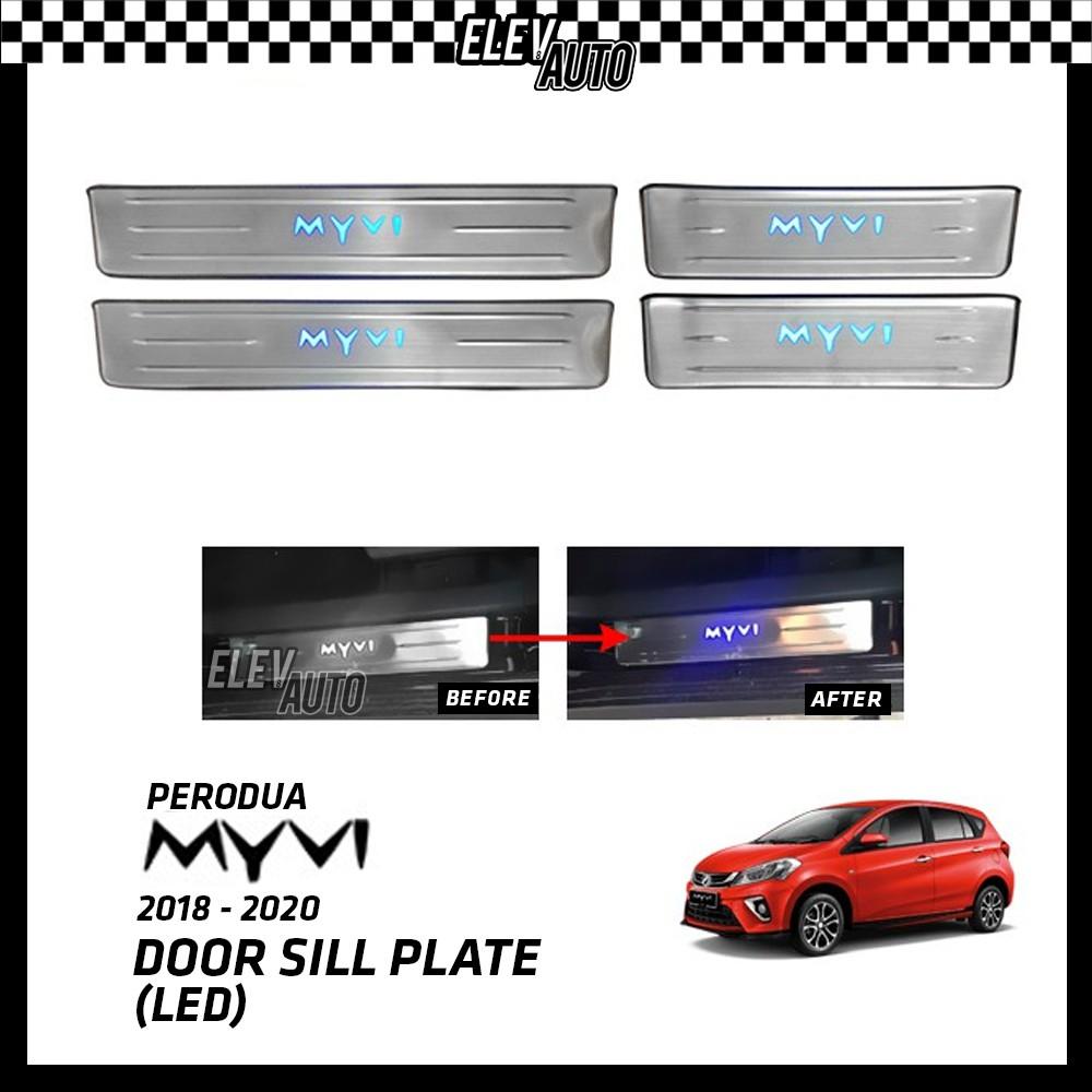 Perodua Myvi 2018-2021 LED Door Side Sill Step Plate (Stainless Steel)