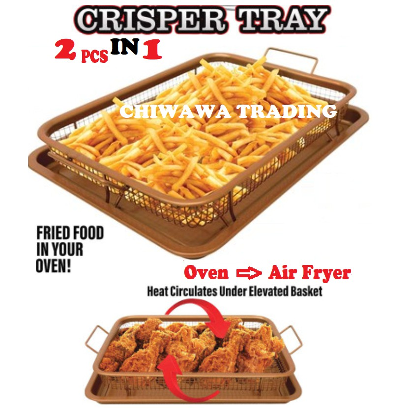 【Crispy Healthy Cook】2 IN 1 Copper Crispy Tray Basket as Oven Air Fryer - No Oil