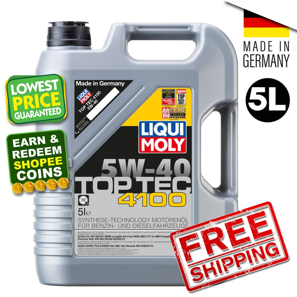 Liqui Moly TOP TEC 4100 5W40 (5L) Fully Synthetic Engine Oil 5W-40
