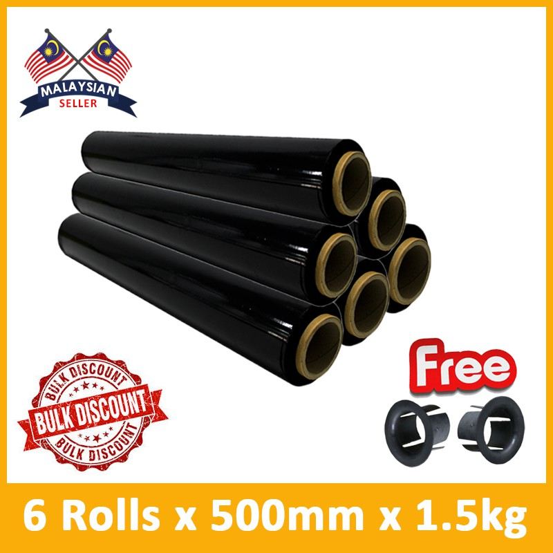 (6 Rolls) Evio Asia Black Pallet Wrap Stretch Film 500mm + FREE Plastic Handle