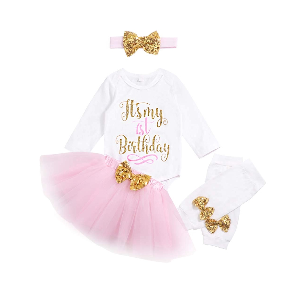 Baby Girl Birthday Outfit Romper Skirt Sequins Bow Headband Leg Warmers 4Pcs Set
