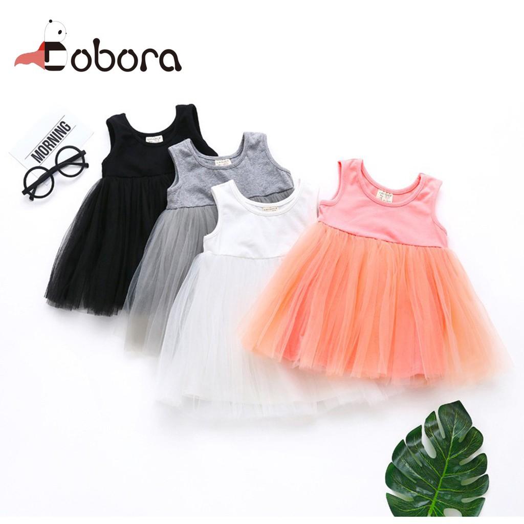 ac02070011a28 BOBORA Lovely Kids Dress Sleeveless Newborn Baby Girl Dress Party Princess